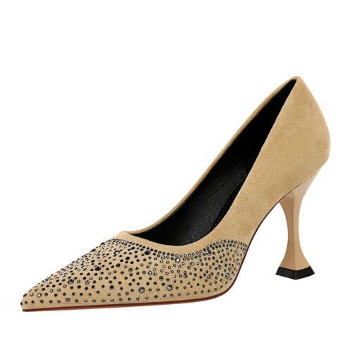 Women/'s Pumps Faux Suede Kitten Heels Pointed Toe Rhinestone Slip On Dress Shoes