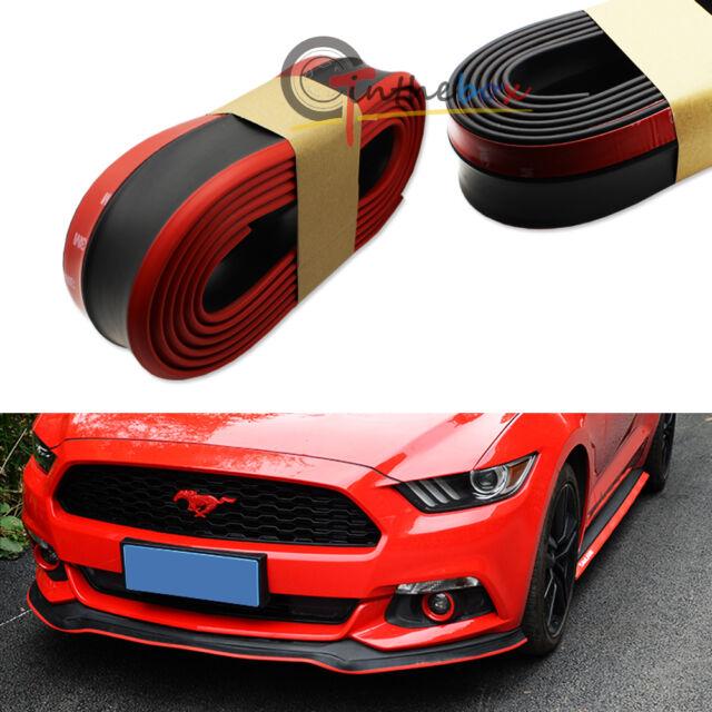(1) Black w/ Red PU Front Bumper Lip Splitter Chin Spoiler Body Kit Trim (8ft)