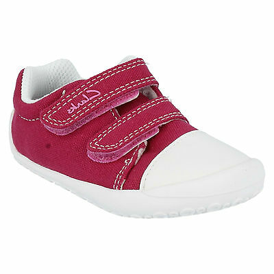 KIRSTY GIRLS CLARKS FIRST DOODLES HOT PINK RIPTAPE PUMP CANVAS SHOES TRAINERS