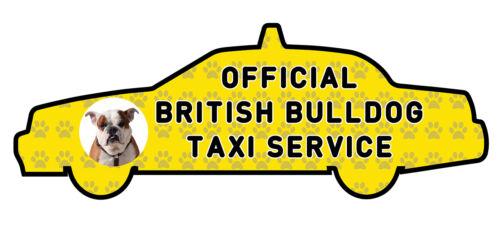 Funny British Bulldog Taxi Service Vinyl Car Decal Sticker Pet Dog Animal Lover