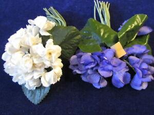 Vtg-Millinery-Flower-Collection-Violets-Purple-Cream-1-1-2-2-034-Double-German-Uh2