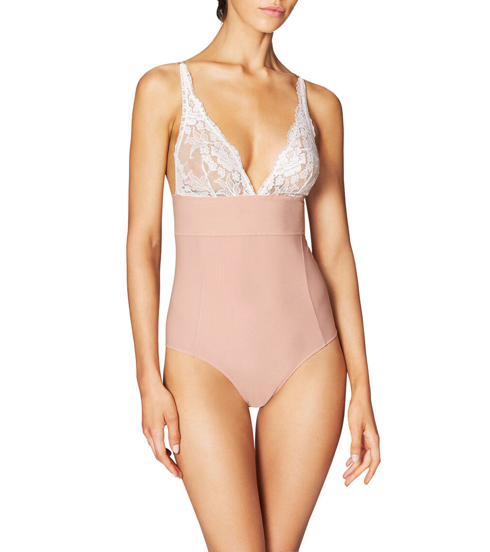 NWT Stella McCartney BELLA ADMIRING Lace Cup Bodysuit, Mahogany pink Floral Whit
