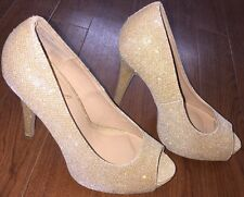 Diba London Gold Glitter Sparkle Open Toe High Heel Stilettos Women's Size 8