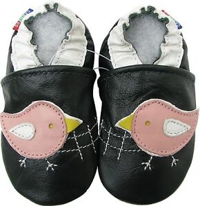 New Born Baby Shower Gift Soft Sole Leather Baby Shoes Gecko Brown Crib 0-6M