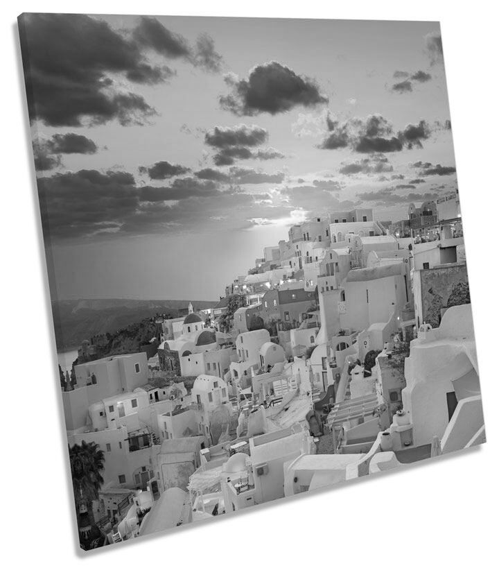 Santorini Greece Sunset B&W CANVAS WALL WALL WALL ART Picture Square Print 04cd6b