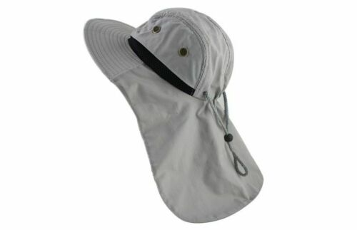 Wide Brim Bucket Hat With Neck Flap Cover Uv Protection Hiking Fishing Sport Cap