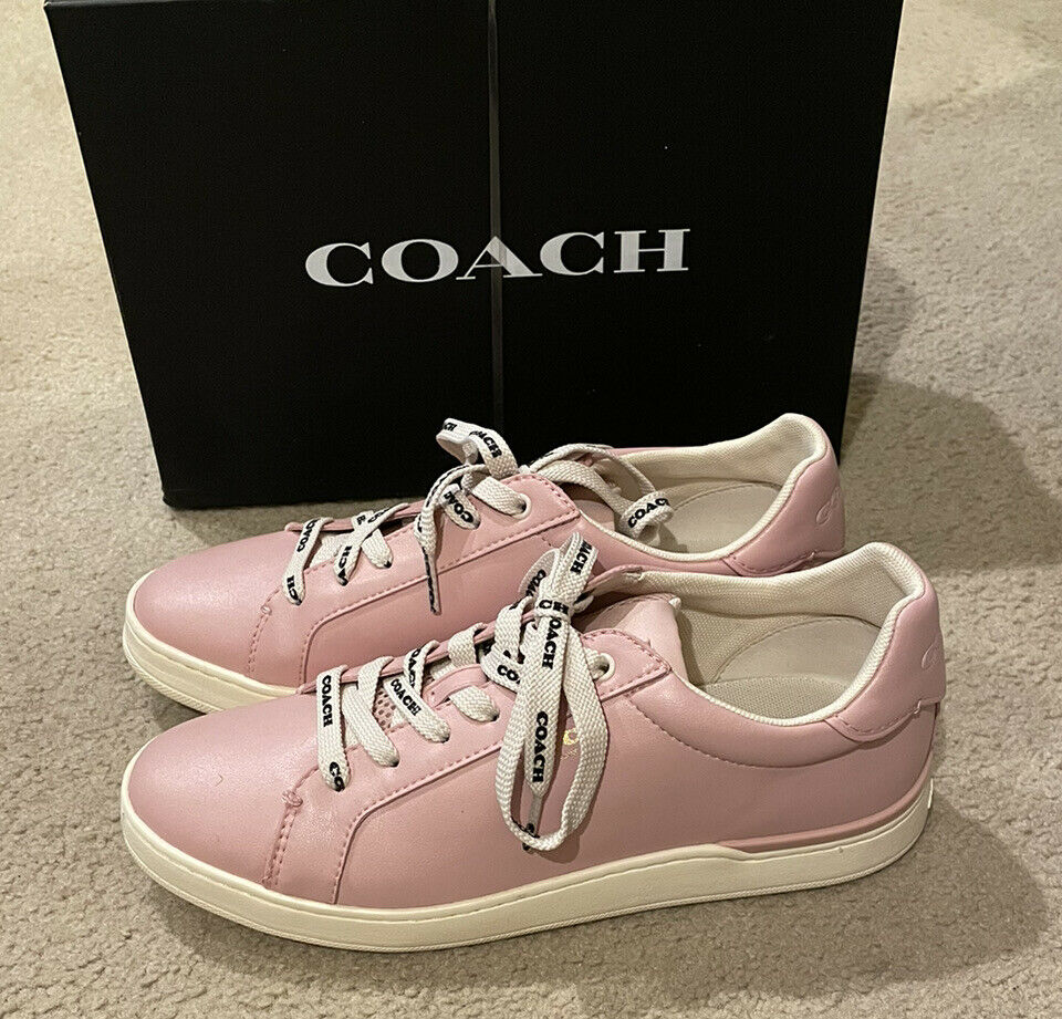 Coach Pink Leather Lowtop Sneaker- Size 8.5, Blossom, G4966, New With Box