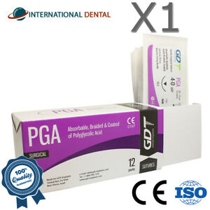 4-0-GDT-geflochtene-Polyglycolsaeure-Saeure-PGA-chirurgisches-Nahtmaterial-75cm-resorbierbare-12pcs