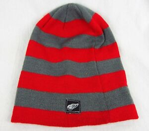 55bbdd494 Details about NWT NHL Detroit Red Wings Zephyr Graf-X Red & Gray Beanie  100% Acrylic One size