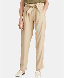 Lauren Ralph Lauren Petite Twill Belted Tie Straight Leg Pants Dune Tan Sz 10P