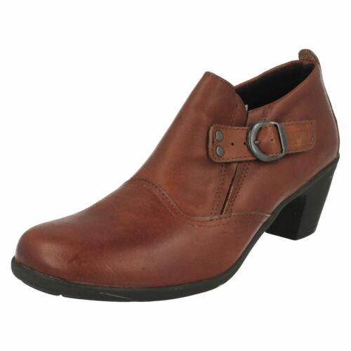 Ladies Easy B Leather Ankle Boots Wide Fitting UK 4-7 Tan//Brown//Black Cameo