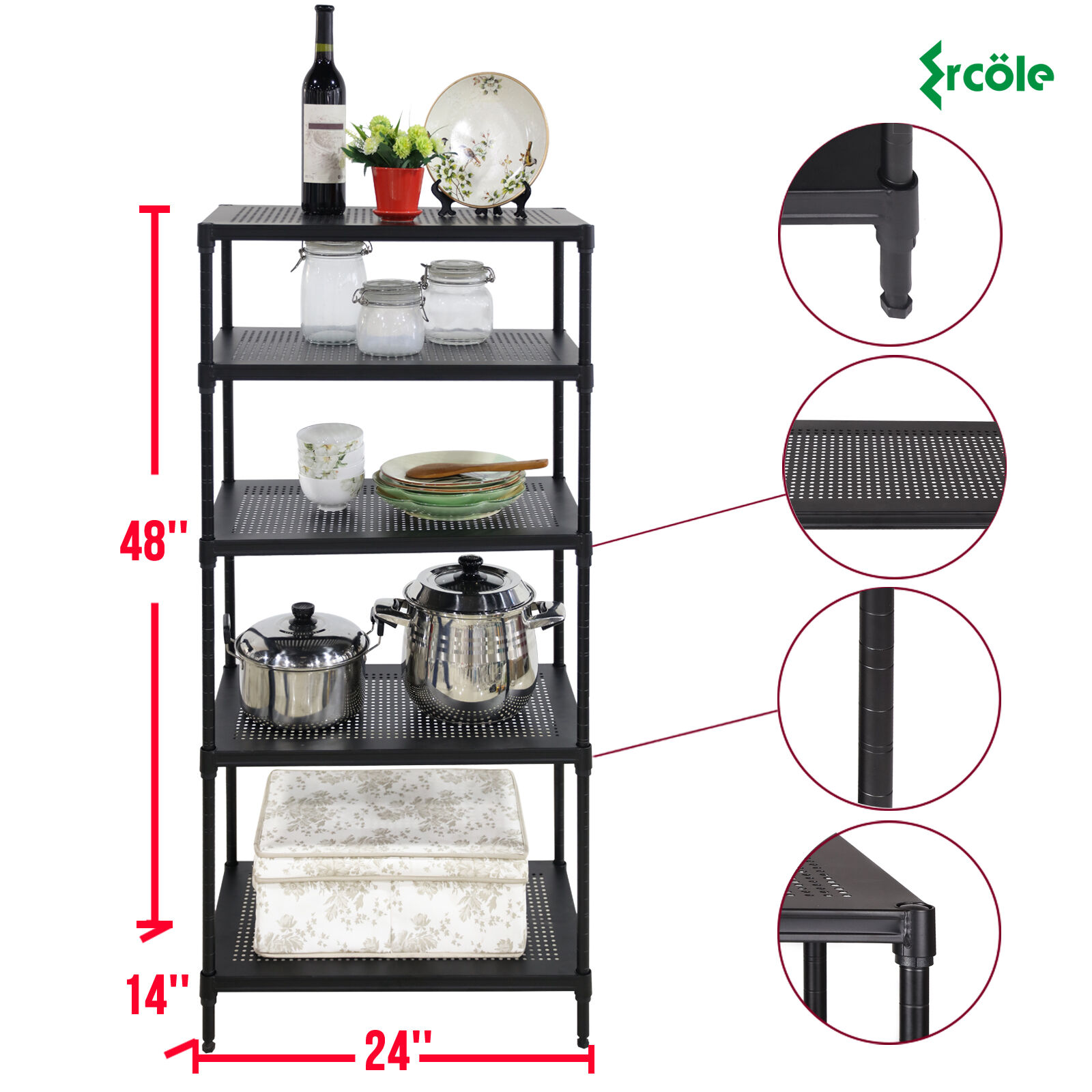 metal storage rack 5 tier heavy duty wire shelving rack unit steel shelf 23294