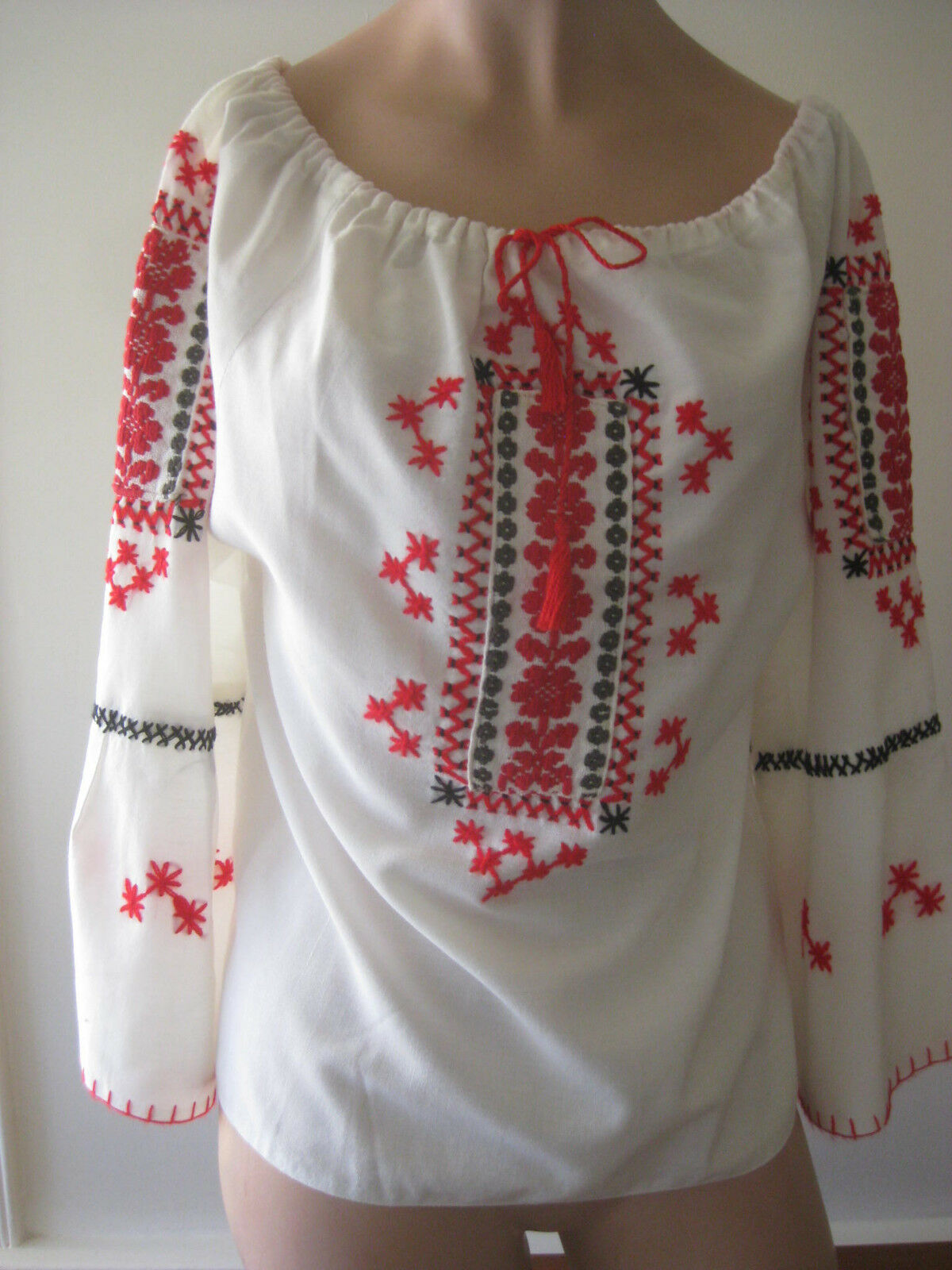 HUNGARIAN HAND Embroidered BLOUSE vintage - image 7