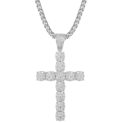"""Round Cut Simulated Diamond Cross Pendent With 18/"""" Chain Platinum 925"""