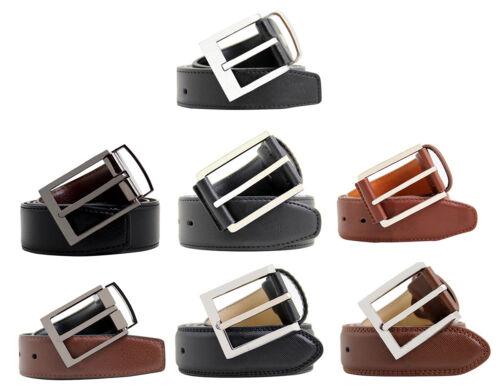 Mens Split Leather Trouser Belt Suit Jeans Smart Casual Black Brown Gift New