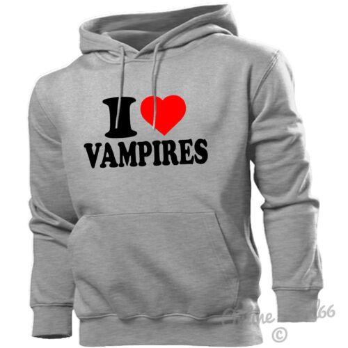 I LOVE VAMPIRES HOODIE HEART HOODY MEN WOMEN KIDS DRACULA DIARIES FANGS BLOOD