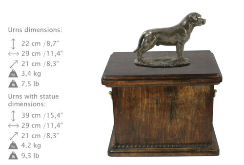 dog urn made of cold cast bronze Rottweiler with tail ArtDog UK- kind1