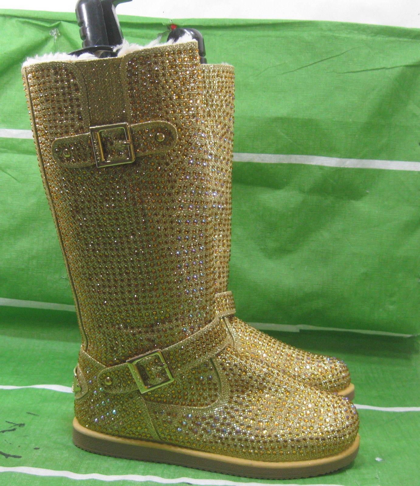 New ladies Urban Glitter High gold Rhinestones Winter Mid-Calf Sexy Boot Size 7