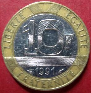 FRANCE-Vintage-1991-10-FRANCS-COIN-Republique-Francaise-NICE-Pre-EURO-COIN
