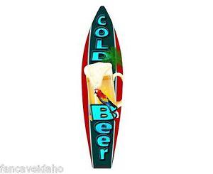 Cold Beer Frosty Mug Metal Novelty Surfboard Sign 17 X 4 5 Wall