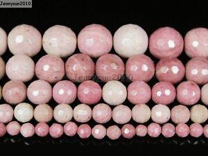 Natural-Rhodochrosite-Gemstone-Faceted-Round-Beads-15-5-039-039-4mm-6mm-8mm-10mm-12mm