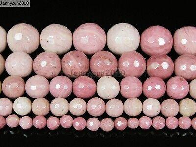 Natural Rhodochrosite Gemstone Faceted Round Beads 15.5'' 4mm 6mm 8mm 10mm 12mm