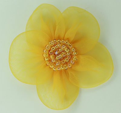 5 Pieces Large Organza Flowers Sew On Appliques   Colour Yellow Gold   #2
