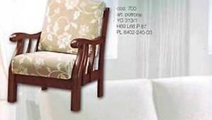 poltrona divano panca in legno faggio massello con cuscini imbottiti sfoderabile