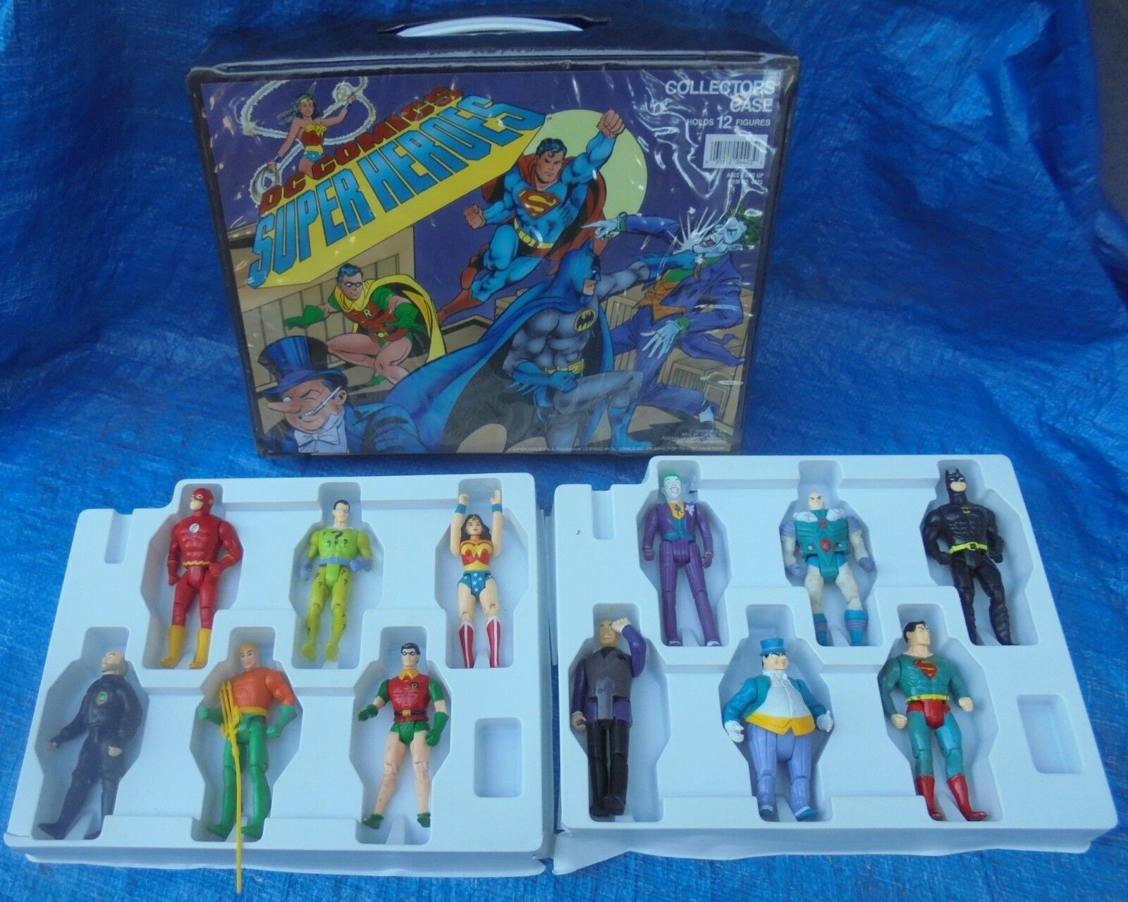 ToyBiz DC Super Heroes Collectors Case 12 Action Figure Lot 1989 Superman Batman