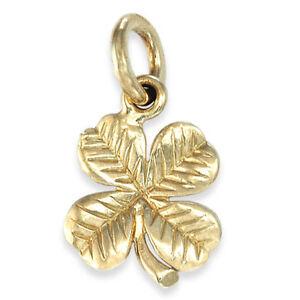 Handmade 9ct gold four leaf clover shamrock pendant charm ebay image is loading handmade 9ct gold four leaf clover shamrock pendant aloadofball Images