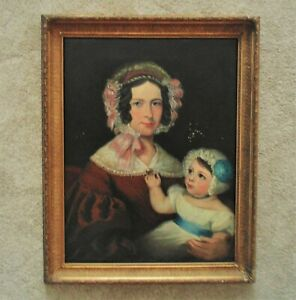 19th c. Portrait Painting Mother & Child Oil on Canvas Antique American Folk Art