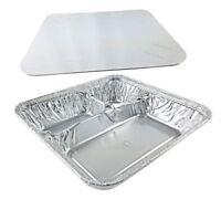 Handi-foil Large 3-compartment Oblong Tv Dinner Aluminum Tray Pan W/lid 50/pk