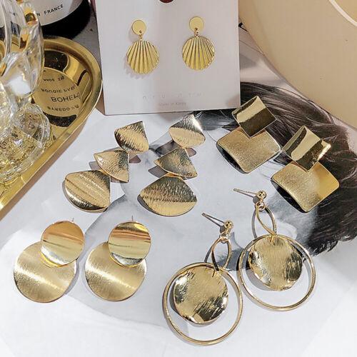 Legierung Silberstift 925 Runder Kreis Große Geometrie Ohrringe fallen Metall