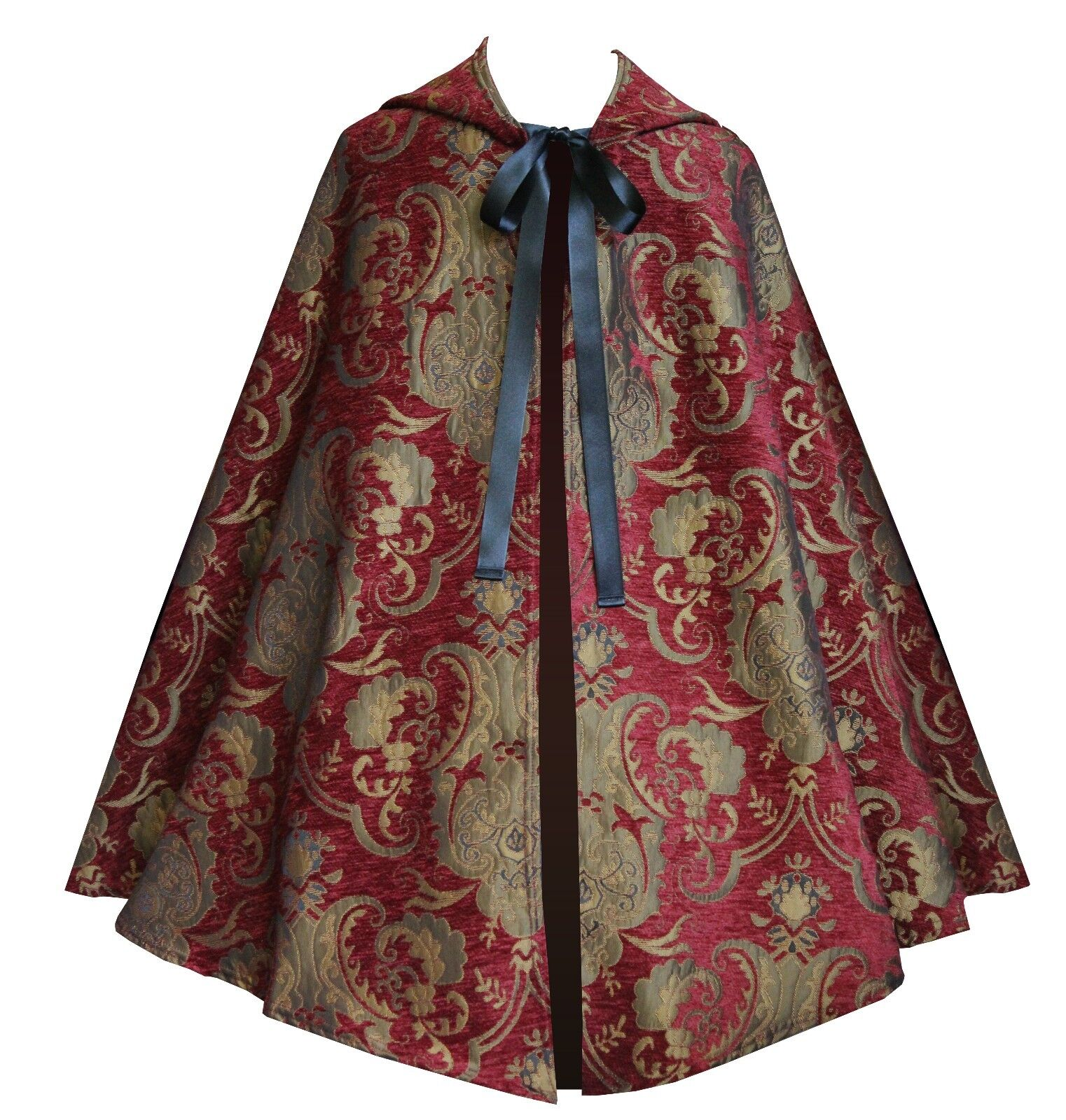 Victorian Gothic Renaissance Steampunk Pirate Brocade Hooded Cape Cloak Royal