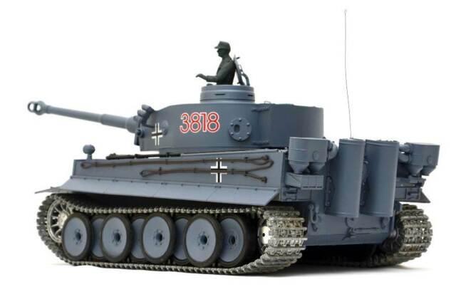 "RC Panzer ""German Tiger I"" Heng Long 1:16 Grau, Rauch&Sound,Metallgetriebe (Stah"