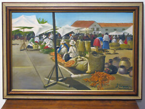 OIL-ON-CANVAS-PAINTING-PERU-MARKET-PLACE-SIGNED