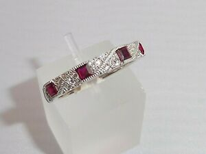 Damen-Art-Deco-Halo-Style-925-Sterling-Silber-Saphir-und-Ruby-Eternity-Ring