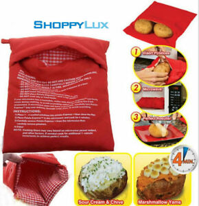 Details About New Microwave Baked Potatoes Bag Cooker Red Fabric Bags Express Cook Potato Fast
