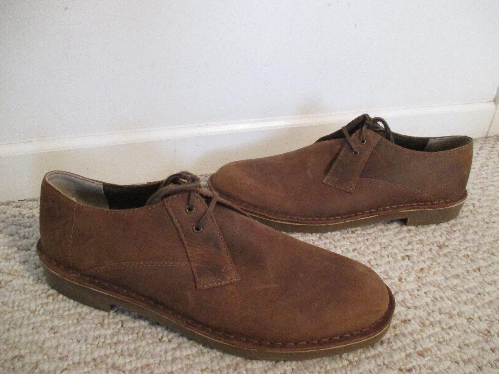 Scarpe casual da uomo Clarks Bushacre Nubuck Brown Leather Oxford Shoes Size 11.5 uomos  34023