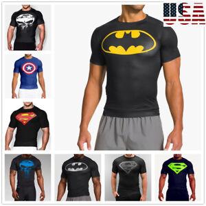 Men-Gym-Muscle-Fit-Batman-Fitness-Cotton-Tee-Workout-T-Shirt-Athletic-Clothes