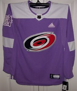 9687549091c58 Details about Hockey Fights Cancer Carolina Hurricanes Purple 255J Adidas  NHL Authentic Jersey