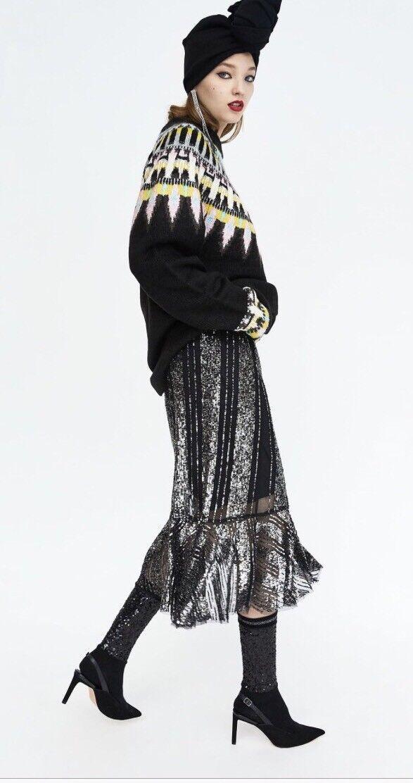 Le donne Zara Zara Zara Arruffato vita alta Lustrini Gonna REGNO UNITO UK S M Tutto Esaurito 69.99   891570