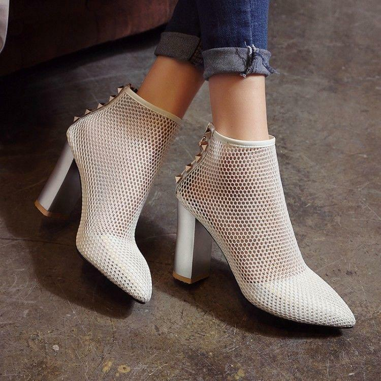 femmes Summer Sexy High Block Heels Rivet Sandal Pointy Toe Hollow Out New chaussures