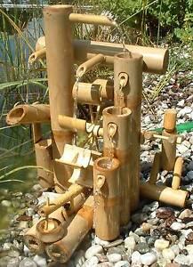 Fontaine bambou, cascade jeu d\'eau décoration jardin patio ...