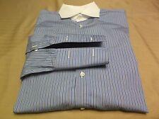 Nwot Ralph Lauren Black Label Blue Striped French Cuff Dress Shirt Size 15 1/2