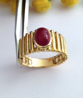FINE 18KT SOLID YELLOW GOLD RUBY RING - MADE IN ITALY