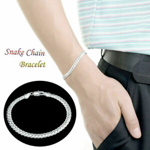 5mm-Solid-Silver-925-Sterling-Snake-Chain-Bracelet-Bangle-Jewelry-Best-Gift