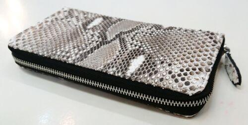 Véritable Anaconda Peau De Serpent Cuir Zip Around Clutch Long Purse Wallet