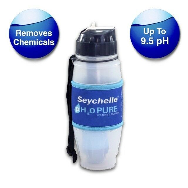 SEYCHELLE 28 OZ PH2O PURE ALKALINE WATER FILTER BOTTLE FLIP  TOP + FREE SHIP   quick answers