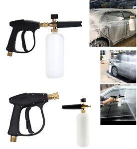 1 4 Snow Foam Washer Gun Car Wash Soap Lance Cannon Spray Pressure Jet Bottle Ebay
